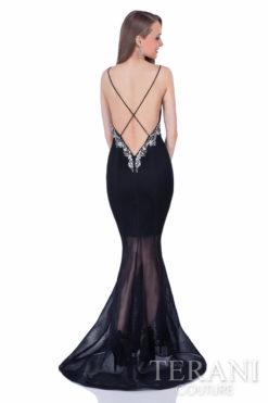 Terani Couture Siyah Uzun Kiralık Elbise
