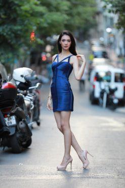 BCBG Max Azria Mavi Mini Kiralık Elbise