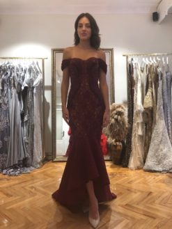 Zeynep Erdoğan Bordo Kiralık Elbise