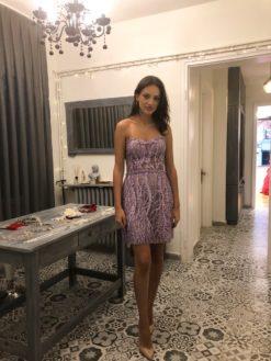 Özel Tasarım Lila Kiralık Gece Elbisesi Modeli