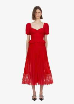 self portrait kiralık kırmızı gece elbisesi