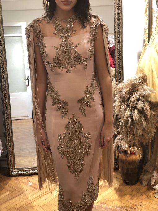 Özel Tasarım Pudra Rengi Kiralık Elbise