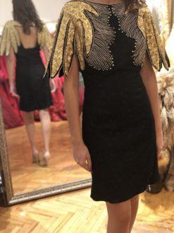 Raisa Vanessa Siyah Mini Kiralık Elbise